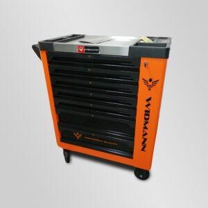 Servante d'atelier orange WIDMANN 7 tiroirs 7 remplis + clé dynamométrique Modèle 2021