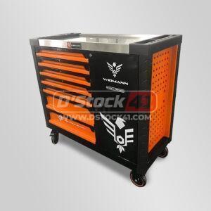 servante d'atelier XXL remplie d'outils de la marque Widmann couleur orange vendue par DSTOCK41